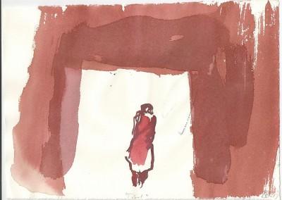 19 Tibet, 2013, Bleistift, Tusche auf Bütten, 24 x 30 cm