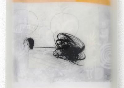 Schattenlicht , 2009, Acryl, Collage, wachs auf Leinwand, 35x35cm