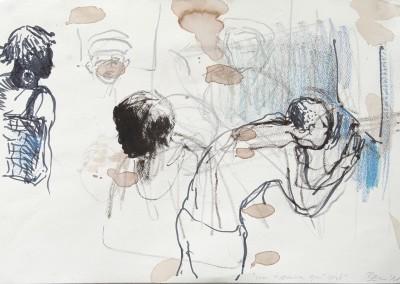 20 un homme qui crie, 2011, Bleistift, Buntstift, Tusche auf Bütten, 26 x 39 cm