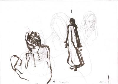 21 Wadjda, 20013, Bleistift, Tusche auf Transparentpapier, 21 x 30 cm