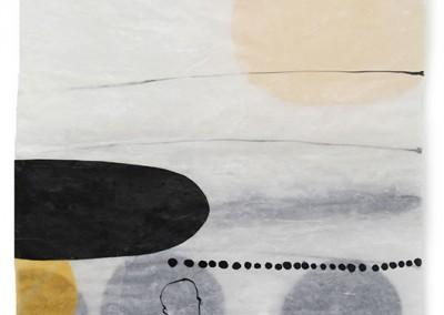 21 labiles Gleichgewicht, 2010, Acryl, Collage, Wachs auf Japanpapier, 97 x 64 cm