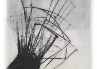 Serie Katalyse II, 2008, Acryl, Collage, Wachs auf Holz, 27x12cm