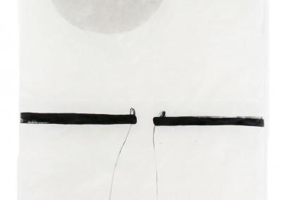 balance précaire, 2008, Acryl, Collage, Wachs auf Japanpapier, 250 x 97cm
