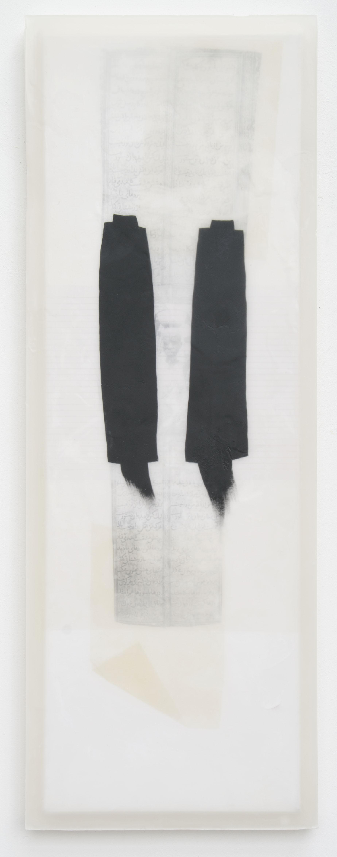 contact - kleine Trance (Afrikanerin), 2008, Acrylfarbe, Collage, Wachs auf Leinwand, 125 x 45 cm