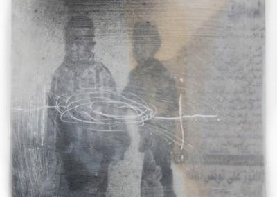 enfant perdu, 2013, Acryl, Collage, Wachs auf Holz, 15 x 15 cm
