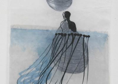 Sammlerin, 2015, Acryl, Tusche, Collage, Wachs auf Japanpapier, 48 x 32 cm