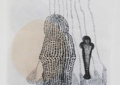 Abschied, 2015, Collage, Acryl, Wachs auf Japanpapier,48 x 32 cm