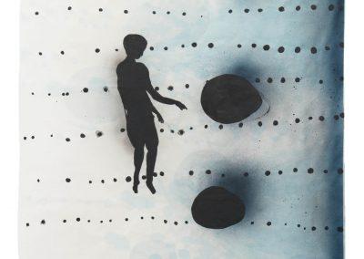 Spuren (Kind), 2018, Tusche, Acryl, Wachs auf Chinapapier, 140 x 77 cm