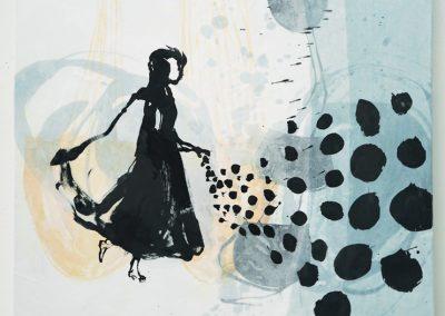 Säendes Mädchen, 2020, Tusche, Wachs, Collage auf Leinwand, 100 x 100 cm