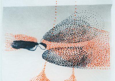 aus der Serie Elba, 2020, Tusche, Acryl, Wachs : Japanpapier,46 x 32 cm