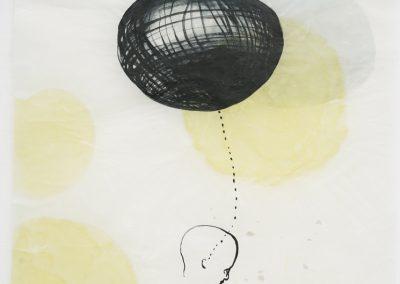 heavy thoughts, 2020, Tusche, Wachs, Collage / Japanpapier, 97 x 62 cm