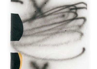 équilibre précaire,Acryl, 2009, Lackspray, Wachs auf Japanpapier, 250 x 97 cm