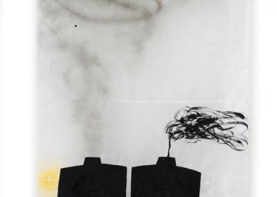 équilibre précaire, 2009, Acryl, Lackspray, Wachs auf Japanpapier, 250 x 97 cm