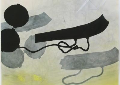 Raumgleiter 2006, Acryl, Pastellkreide auf Japanpapier200 x 248cm
