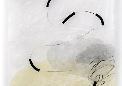 angedockt, 2008, 245x97cm, Acryl, Collage, Wachs auf Japanpapier
